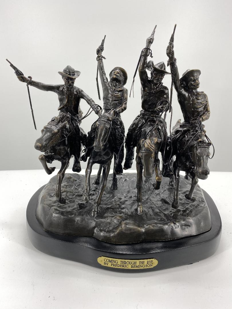 Coming Through The Rye By Frederic Remington Finest Us Bronze Sculpture Statue Mini American Bronzes